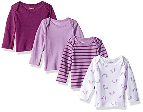 Hanes Ultimate Baby Flexy 4 Pack Long Sleeve Crew Tees, Purple Fun, 12-18 Months