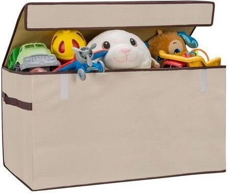 Toy Chest Storage Organizer Bin with Flip-Top Lid LARGE for Toys, Multipurpose storage solution (Chest Durable Toy Wooden)