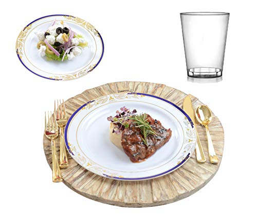 135 PC. Plastic disposable & reusable China plate, silverware & cup combo set - 25 dinner plates, 25 salad/dessert plates, 25 forks, 25 spoons, 25 knives & 20 tumbler cups | Round Signature blue]()