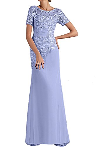 Lilac Etuikleider Lang La Gruen Minze Ballkleider Chiffon Braut Festlichkleider mit Abendkleider mia Kurzarm Abschlussballkleider vqTBO