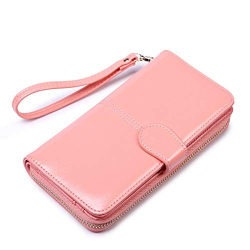 Oil Wax Leather Retro Large Capacity Clutch Bag Multifunction Mobile Phone Bag N (Color - Pink)