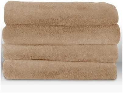 Sunbeam TSV8WS-R772-33A00 Velvet Plush Electric Heated Throw Blanket Mushroom Beige