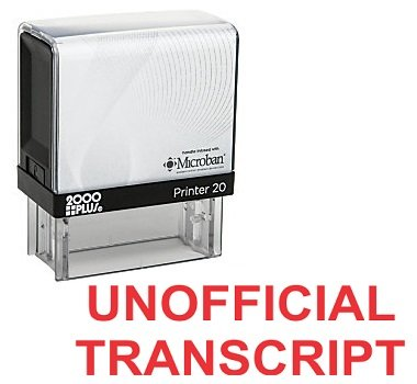 UNOFFICIAL TRANSCRIPT Office Self Inking Rubber Stamp - Red Ink (A-5791)