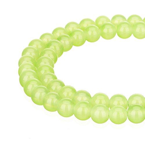 (RUBYCA 1 Strand 6MM Jade Imitation Round Painted Coated Glass Beads DIY Jewelry Making Jade Green)