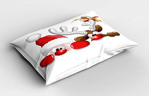 "Ambesonne Christmas Pillow Sham, Funny Christmas Santa Claus and Reindeer Peeking Cartoon Style Humor, Decorative Standard Queen Size Printed Pillowcase, 30"" X 20"", Vermilion Caramel"