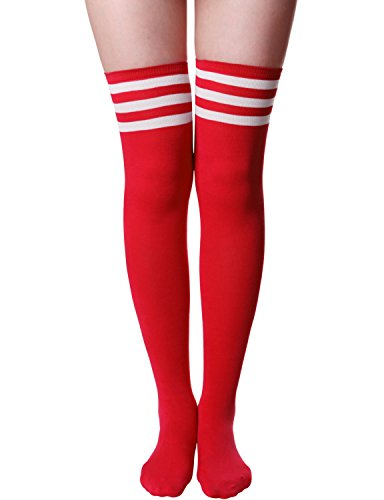 Baseball Socks Womens - HASLRA Women's Tube Over The Knee High Socks 1 Pairs (Tube-RED-M)