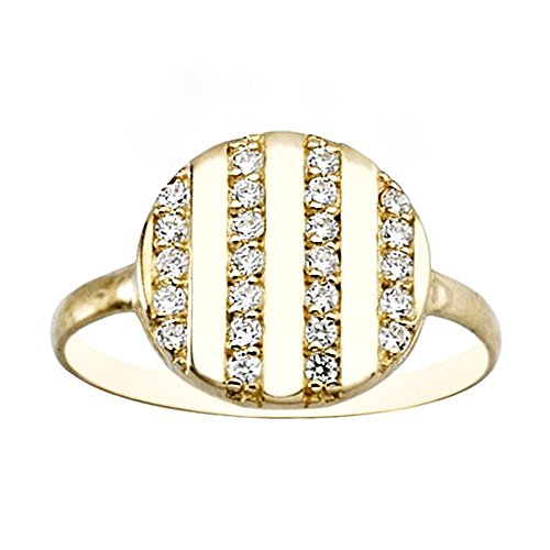 Bague 18k or lisses bandes zircons [AA7164]
