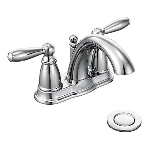 Moen Brantford Two-Handle Low-Arc Centerset Bathroom Faucet with Drain Assembly, Chrome (6610)