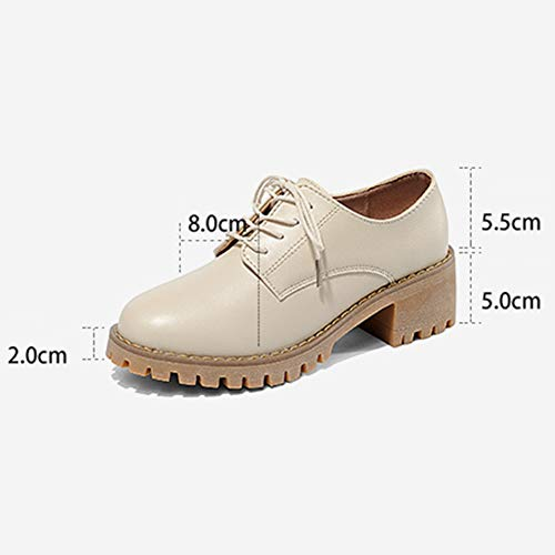 Cuir En Taille À Loisirs Femmes Femme Lacets couleur Britannique Automne Beige Chaussures 36 Style Beige Pour Hwf Et4BqnHw
