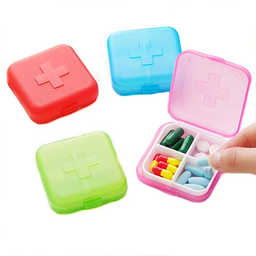 Trinket Pill Box (4PCS Portable 4 Slots Capsules Cross Pill Case Box ,Random Color)