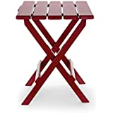 Camco 51694 Red Large Adirondack Portable Outdoor Folding Side Table, Perfect for The Beach, Camping, Picnics, Cookouts and More, Weatherproof and Rust Resistant