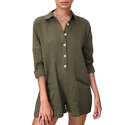 Women Plus Size Rompers, Ladies Casual Solid ButtonJumpsuits Loose Formal to Work Playsuit Trous with Pockets❤️Sumeimiya Army Green