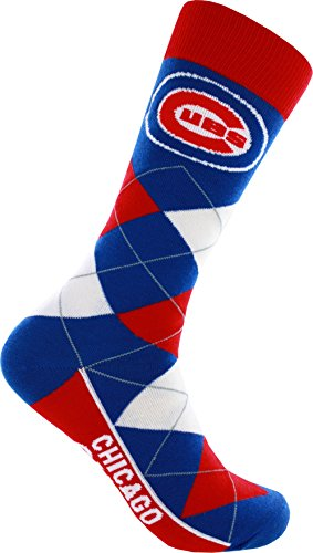 For Bare Feet MLB Chicago Cubs Argyle Unisex Crew Cut Socks - One Size Fits Most ()