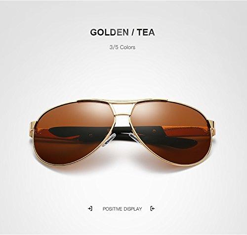 Marca Sol de de Gafas Espejo Retro Golden Color de tea Gafas de aviación Gafas Hombre Jusheng Sol Golden polarizado diseñador Espejo para Gafas Sol de Tea de 0Rxn7n16wq