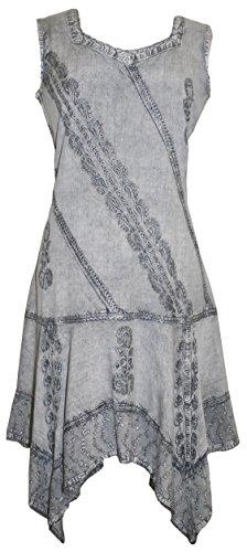 Agan Traders 1015 DR Asymmetrical Hem Short Dress (2X, Silver) ()