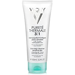 Vichy Pureté Thermale 3-in-1 One Step Face Wash Cleanser and Eye Makeup Remover for Sensitive Skin, 3.3 Fl. Oz.
