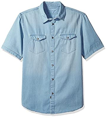 Calvin Klein Jeans Men's Short Sleeve Denim Button Down Shirt