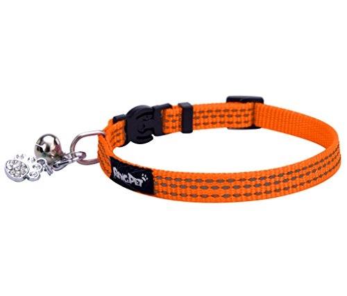 BINGPET Safety Nylon Reflective Cat Collar Breakaway Adjustable Cats Collars with Bell and Bling Paw Charm, Orange (Collar Cat Orange Safety)