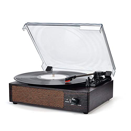 Record Player Portable Wireless LP Belt-Drive 3-Speed Turntable with Built in Stereo Speakers, Vintage Style Vinyl Record Player (Vintage Style-Brown) (All Time Best Players)