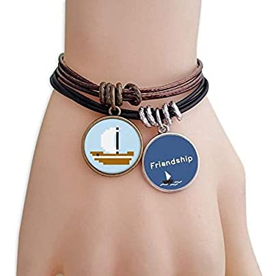 YMNW Summer Sail Ship Sea Pixel Friendship Bracelet Leather Rope Wristband Couple Set Estimated Price -