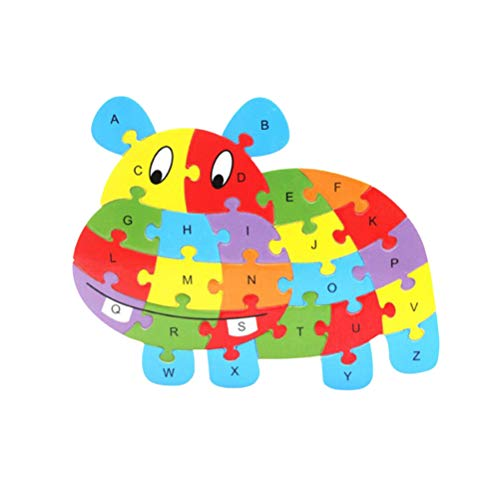 - Wooden 26 English Letters Hippo Design Puzzle Blocks Toy Brain Games Jigsaw Toy Educational Toys Games