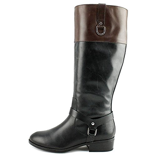 Riding Ralph Boots DK Almond BLK Leather by Lauren High Lauren BR Womens Mesa Knee Toe H5xvq11Pw