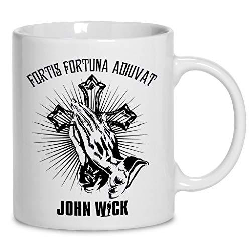 (John Wick Praying Hand Tattoo Latin Fortis Fortuna Adiuvat Action Movies Gift Coffee Mug 11oz & 15oz Gift Black Tea Cups)