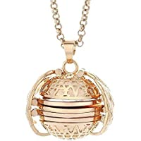 DK DKMG Expanding Special Round Stainless Steel Valuable Photo Locket Necklace Silver Ball Angel Wing Pendant Memorial…