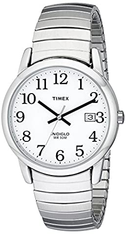 Timex Men's T2H451 Easy Reader Silver-Tone Stainless Steel Expansion Band Watch - Timex Water Resistant Watch
