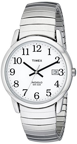 (Timex Men's T2H451 Easy Reader Silver-Tone Stainless Steel Expansion Band Watch)