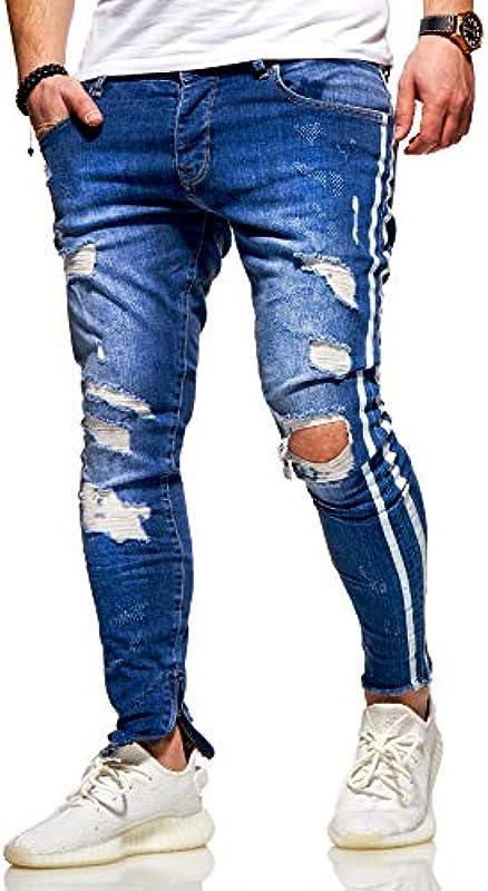behype. Męskie spodnie dżinsowe Destroyed Stretch w stylu Used-Look z Side-Stripe 80-0496: Odzież