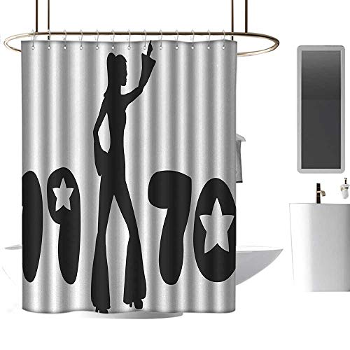 Shower Curtains Turquoise and Gray 70s Party,Retro Seventies Woman Silhouette with Stars Dancing Fashion Youth Design,Black and White,W55 x L84,Shower Curtain for Small Shower stall