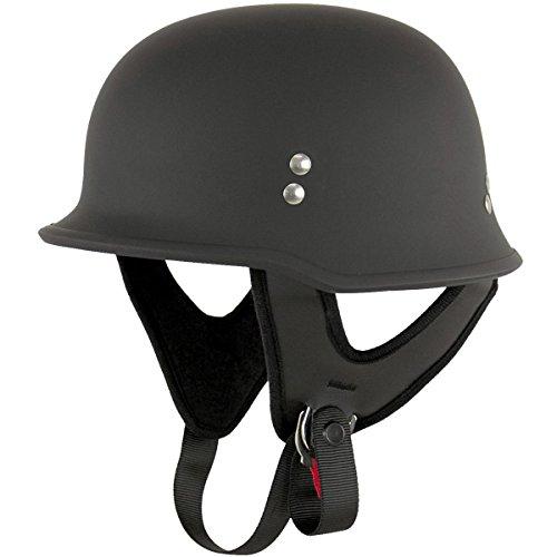 Outlaw T-75 German Style Flat Black Half Helmet - Large