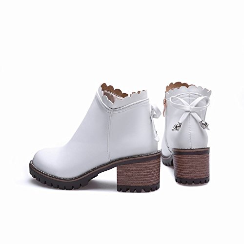 Carolbar Womens Zip Bowknots Decorative Border Adorabile Sweet Lolita Boots Bianco