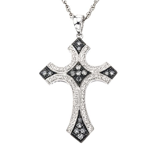 Diamond Cross Pendant in Sterling Silver (0.25 carats, H-I I2 and Grey Diamonds) ()