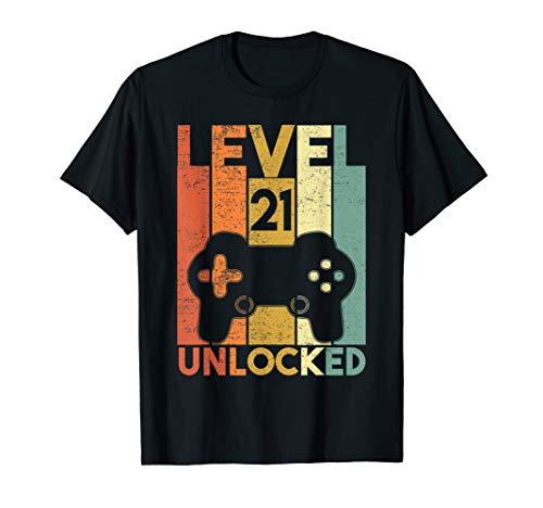 Level 21 Unlocked Shirt Funny Video Gamer 21st Birthday Gift