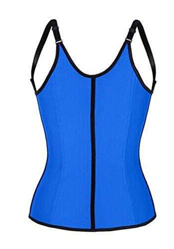 Grebrafan Steel Boned Underbust Latex Adjustable Strap Bodyshaper Sport Corset Vest Blau BQVeCt0wGf