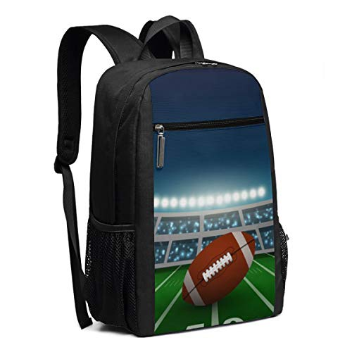 American Football Stadium, Backpack 17 Inch, Laptop Travel Water-Repellent Casual Daypack For Business/College/Men/Women