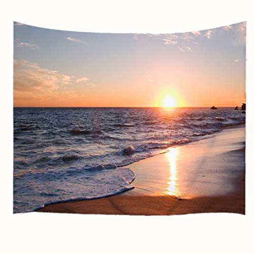 Goodbath Large Tapestry, Ocean Waves Beach Coastal Sunrise Tapestries Fabric Wall Hanging for Living Room Bedroom Dorm, Large Size 90 x 60 Inch, Gold - Coastal Hanging Wall