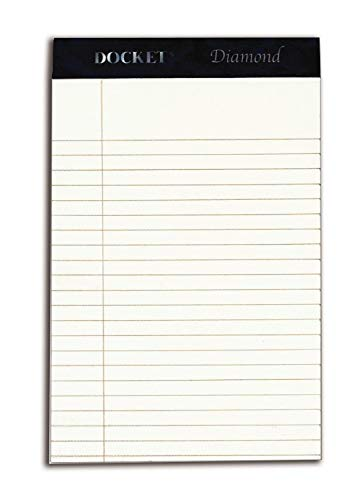TOPS Docket Diamond 100% Recycled Premium Stationery Tablet, 5 x 8 Inches, Perforated, Ivory, Narrow Rule, 50 Sheets per Pad, 4 Pads per Pack (63982) - Ivory Recycled Stationery