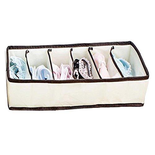 6 Cells Storage Box Organizer Bra Socks Underwear Ties Divider Closet Container