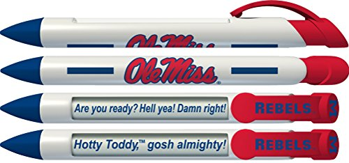 Ole Miss (University of Mississippi) Rebels Greeting Pen Rotating Message Pens - 4 Pack (8014) Officially Licensed Collegiate Product