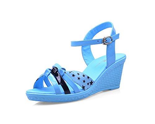 Sandali Open Toe Open Toe Gessati Con Tacchi Blu