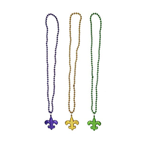 3 Pack Mardi Gras Bead Necklaces with Mardi Gras Flower Pendant for Mardi Gras Party
