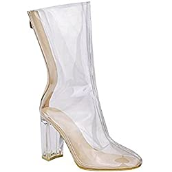 Ladies Perspex Chunky Heel Ankle Boots Shoe Size EUR 36-42/ 5-10 1/2 (US 9 1/2 / UK 7, Nude)