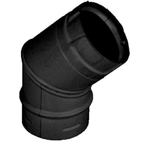 Corn Stove Venting Wall (3'' PelletVent Pro Black 45 Degree Elbow - 3PVP-E45B)