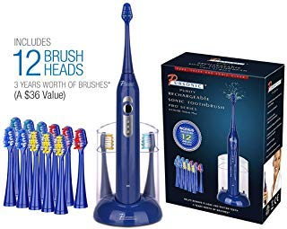 Pursonic S430 High Power Rechargeable Electric Sonic Toothbrush with 12 Brush Heads & Storage Charger, Blue ()