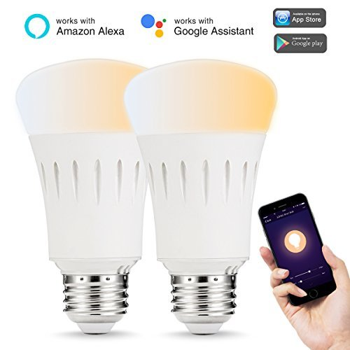 LOHAS A19 LED Wifi Smart foco, 60 W equivalente (9 Watt) regulable A19 WiFi LED, blanco afinable (2000K – 6500 K),...