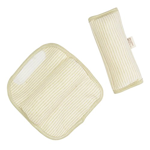- DorDor & GorGor ORGANIC Baby Seat Belt Cushion, Extra Plush, 100% Cotton (Olive Striped)