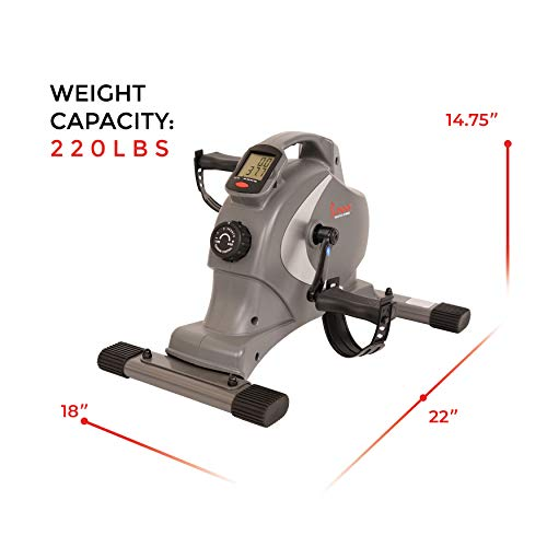 Sunny Health & Fitness SF-B0418 Magnetic Mini Exercise Bike, Under Desk Bike